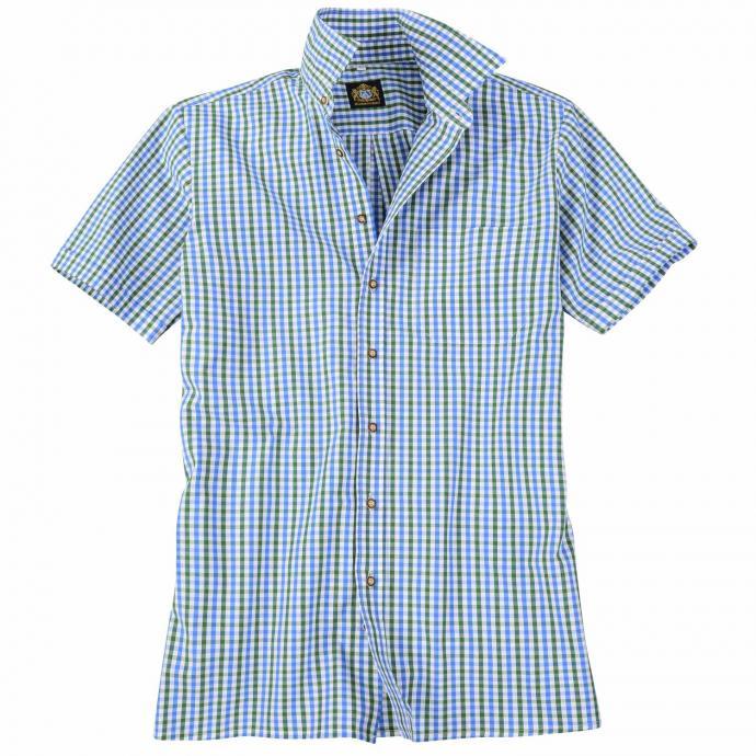 Kariertes Trachtenhemd kurzarm blau_BLAU/GRÜN | 3XL