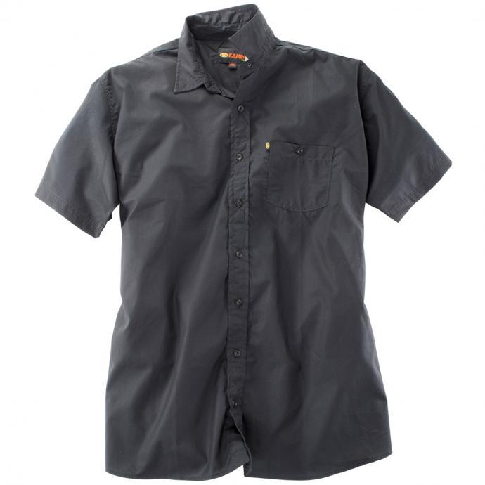 Schwarzes kurzarm Freizeithemd schwarz_220 | 3XL