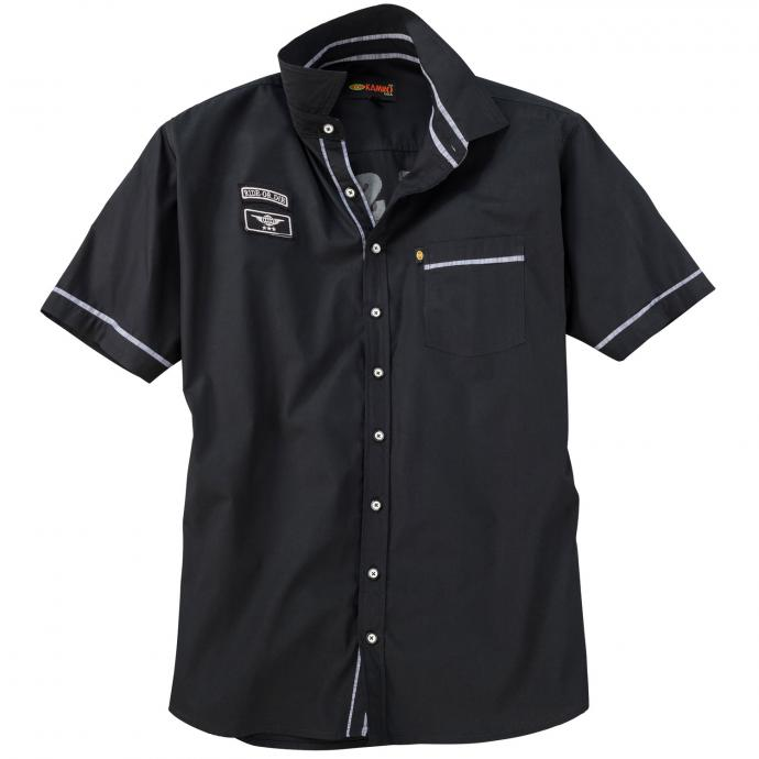 Freizeithemd mit Rückenprint,  kurzarm schwarz_228 | 3XL