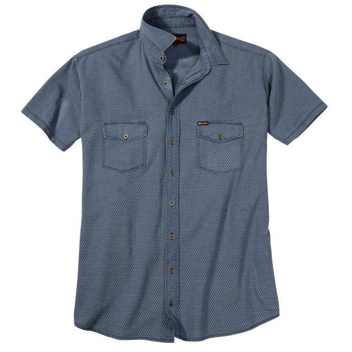 Gemustertes Kurzarmhemd mit Brusttaschen mittelblau_BLAU | 3XL
