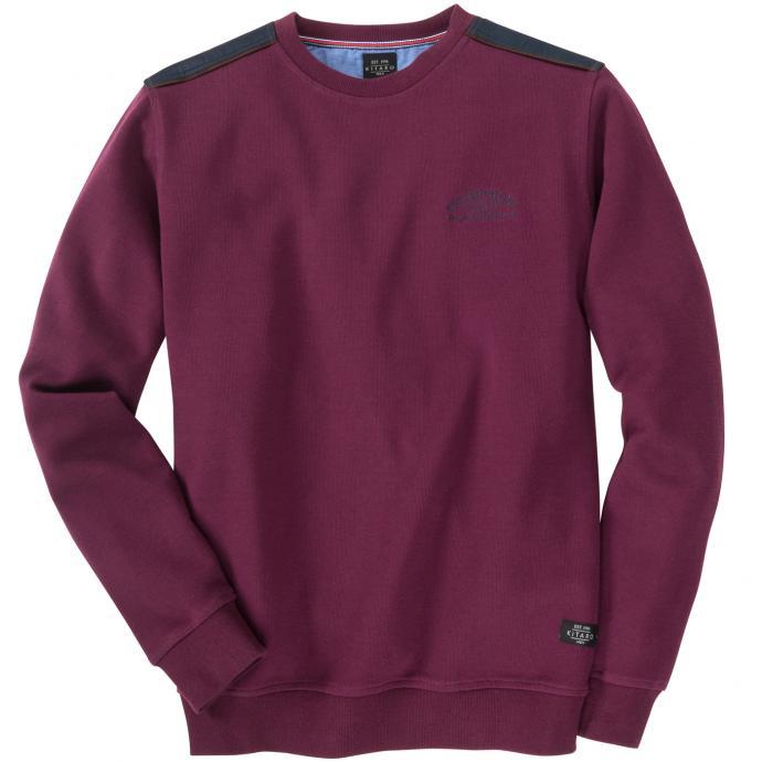 Sweatshirt mit Schulterbesatz weinrot_4000 | 5XL