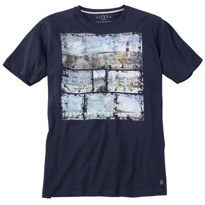 T-Shirt mit modischem Beach-Print dunkelblau_210 | 5XL