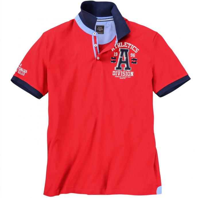 "Bequemes Poloshirt mit ""Athletics"" Print rot_4002 | 3XL"