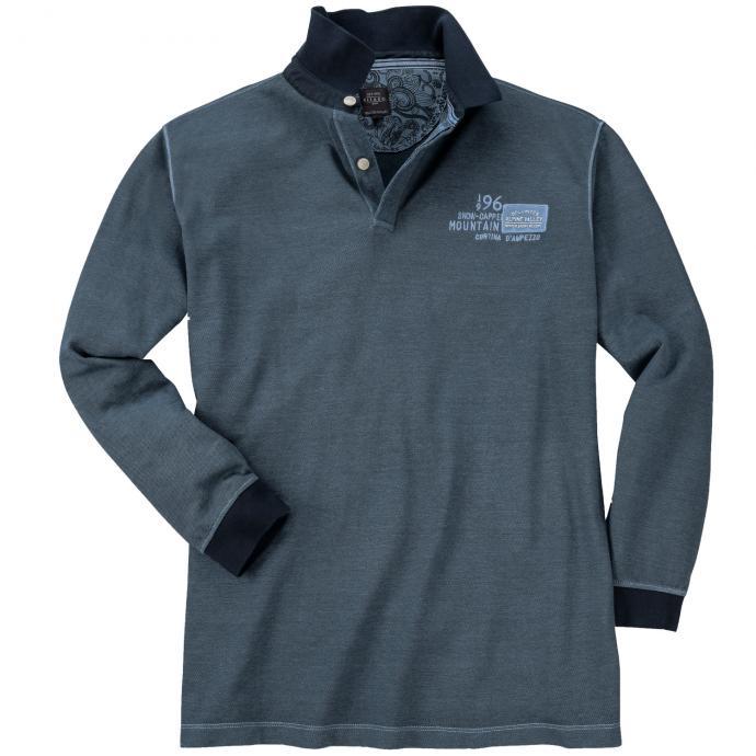 Geschmackvolles Langarmpoloshirt mit Kontrastdetails und Stickerei blau_2243 | 5XL