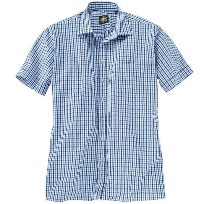 Trachten Kurzarmhemd mit Hornknöpfen blau_BLAU/BLAU   5XL