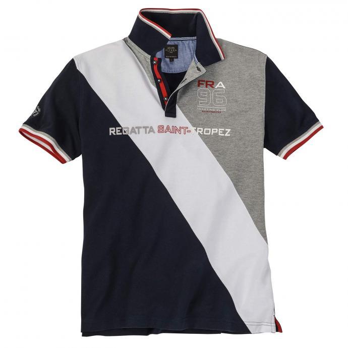 Maritimes Poloshirt in moderner Colour-Blocking-Optik dunkelblau_210 | 6XL