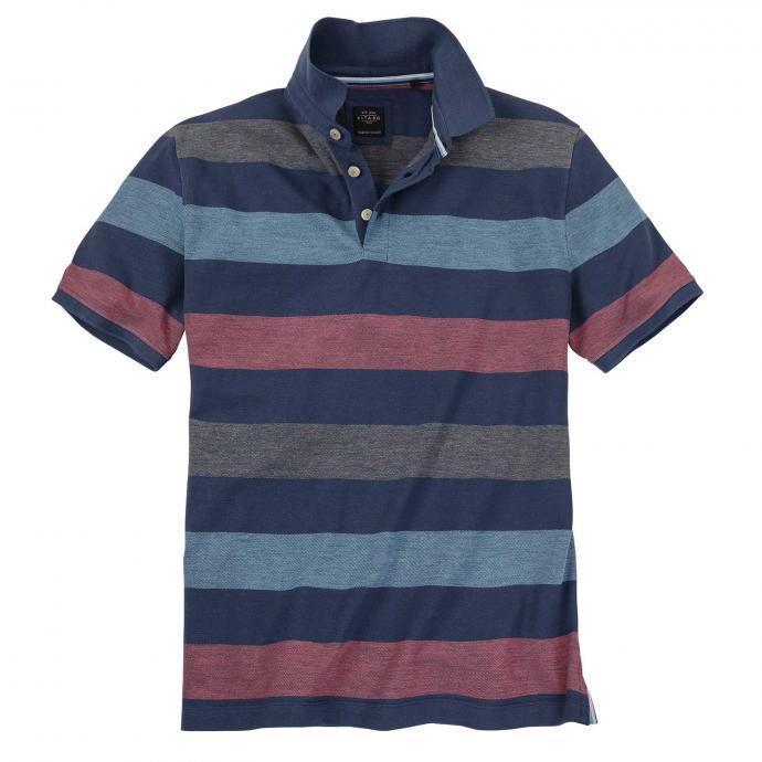 Klassisches Poloshirt in moderner Colour-Blocking-Optik, kurzarm mittelblau_2237   4XL