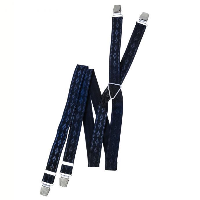 Extra breiter Hosenträger mit feinem Rautenmuster blau_520   130