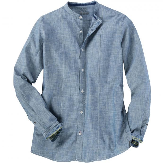 Freizeithemd mit Stehkragen blau_56W1 | 4XL