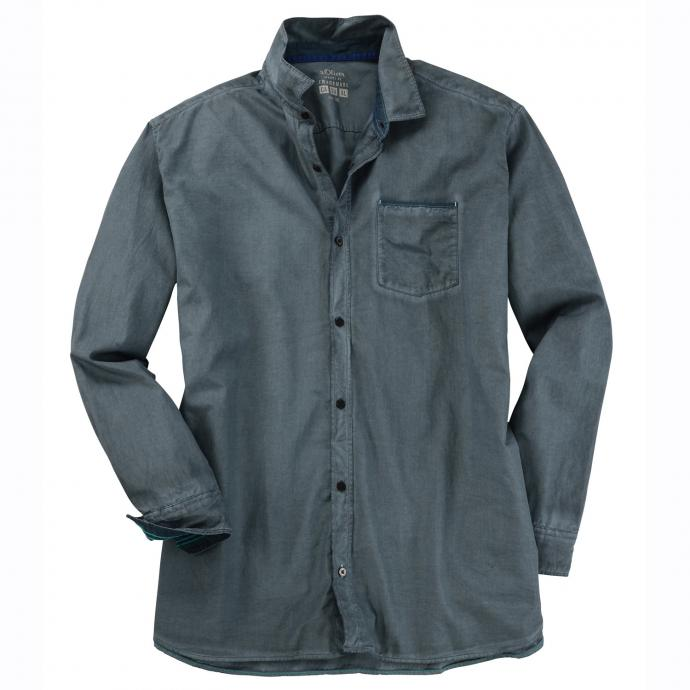 Leichtes Freizeithemd langarm grau_9581 | 3XL