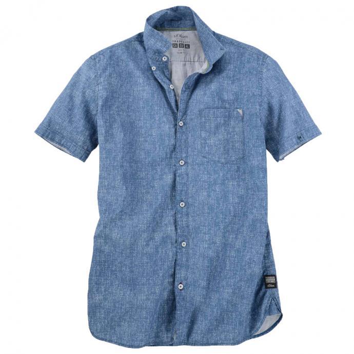 Meliertes Freizeithemd jeansblau_5445 | XXL