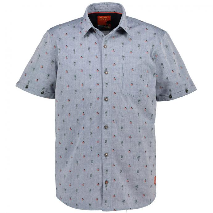 Freizeithemd in Leinenoptik und floralem Muster, kurzarm blau_56K1   3XL