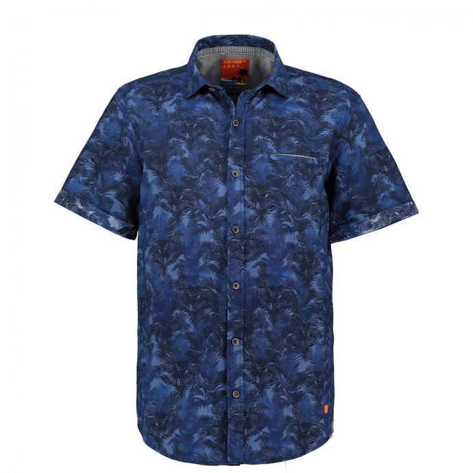 Leichtes Kurzarmhemd mit Tropical-Print blau_56A5   3XL