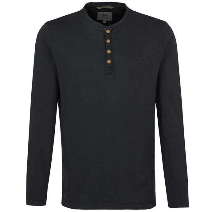 T-Shirt mit Serafino-Kragen, langarm blau_19 | 3XL
