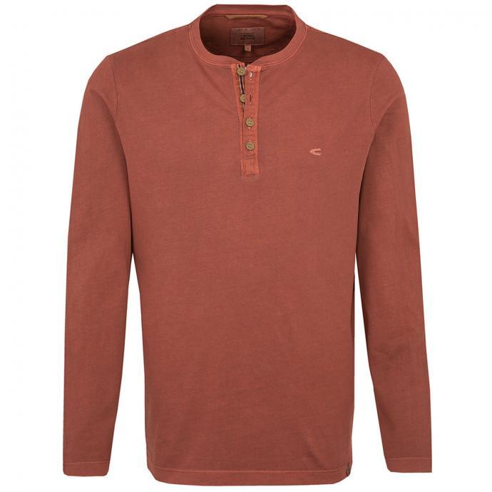 T-Shirt mit Serafino-Kragen, langarm rost_69/93   3XL