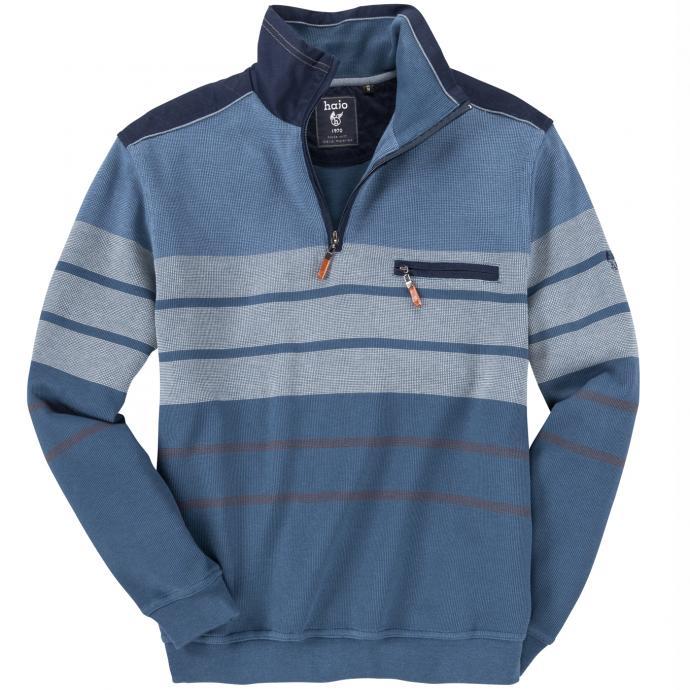 Sweatshirt mit Troyerkragen hellblau_602 | 4XL