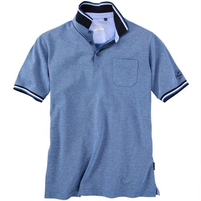 Poloshirt mit Strukturmuster kurzarm dunkelblau_609 | 3XL