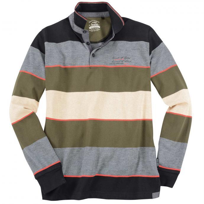 Langarmsweatshirt mit Polokragen in stay-fresh-Premium-Qualität grau/schwarz_100/4 | 3XL
