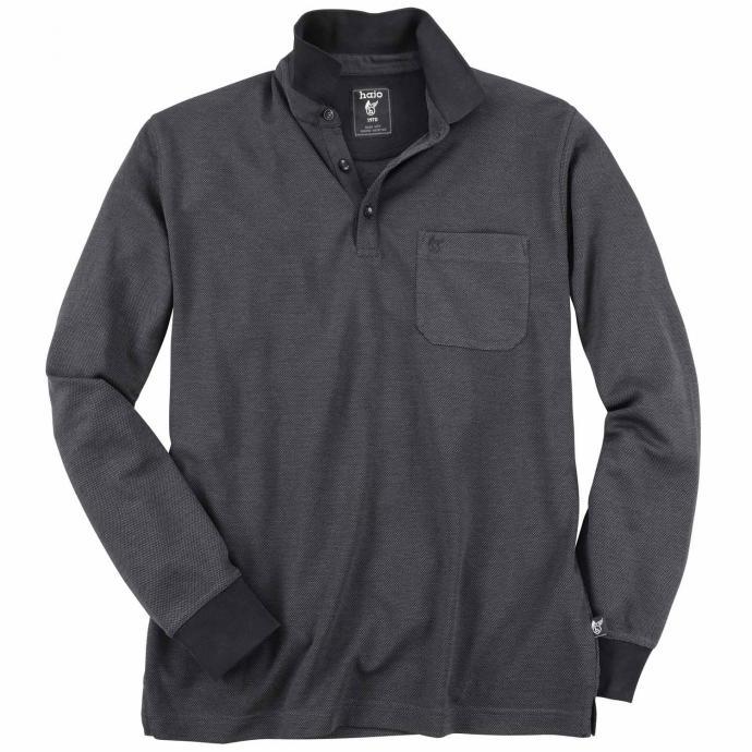 Leichtes Poloshirt langarm schwarz_100   3XL