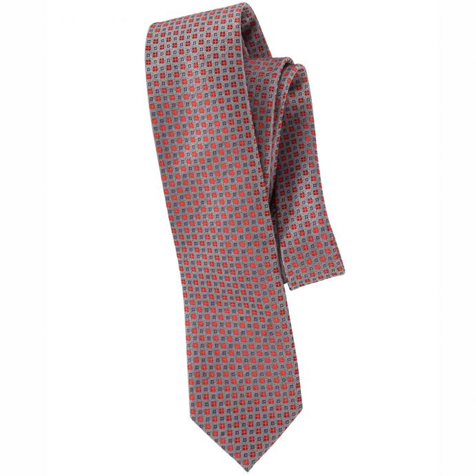 Krawatte mit fantasievollem Quadrat-Muster rot_GRAU/ROT | One Size