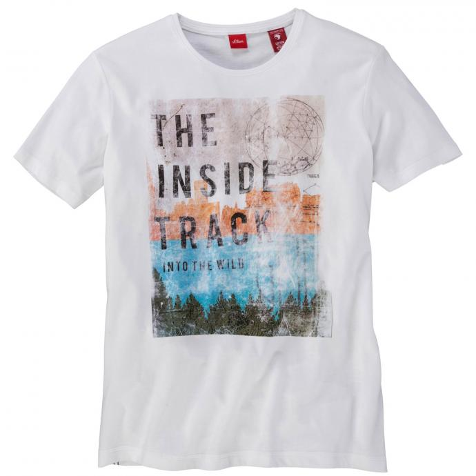 Bequemes T-Shirt mit auffälligem Frontprint kurzarm weiß_0100   4XL