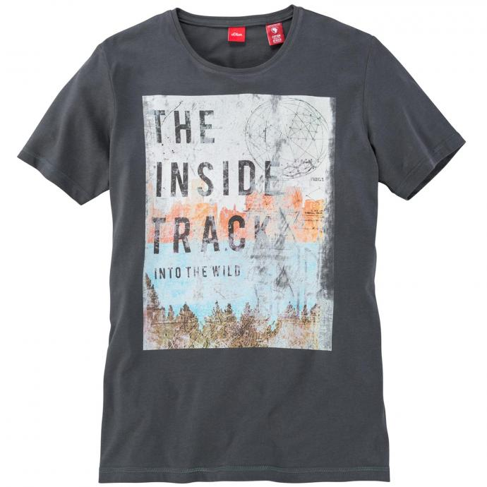 T-Shirt mit auffälligem Frontprint kurzarm grau_9581 | 3XL
