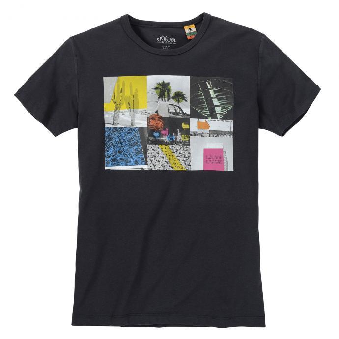 T-Shirt mit auffälligem Frontprint dunkelgrau_98970 | 3XL