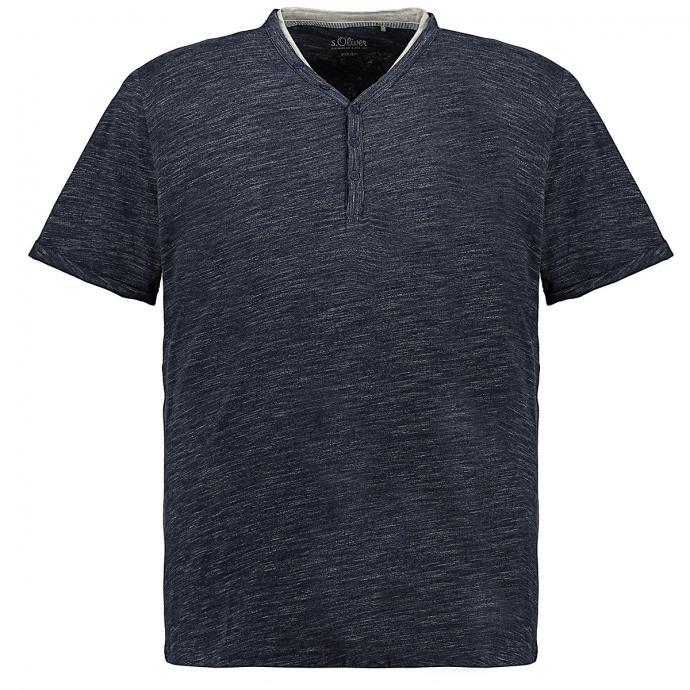T-Shirt mit Henleykragen und Melange-Effekt blau_58W0   3XL