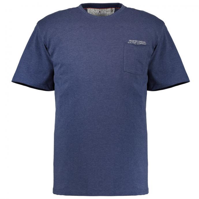 Sommerliches T-Shirt mit Brusttasche dunkelblau_56W0 | 3XL