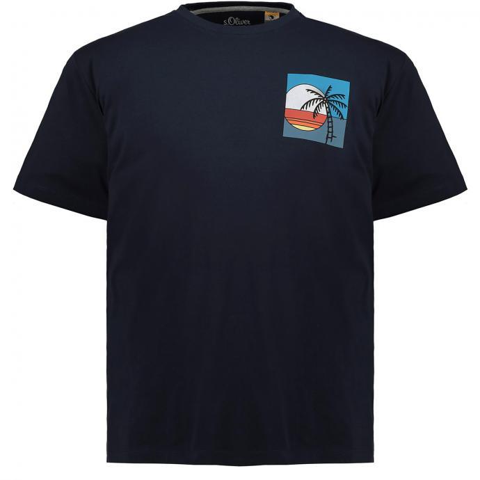 Schlichtes T-Shirt mit dezentem Brust-Print blau_58A2 | 3XL