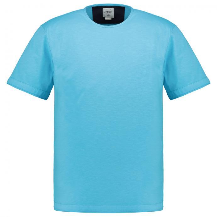 Lässig, leichtes T-Shirt mit Used Look-Optik türkis_6242 | 3XL