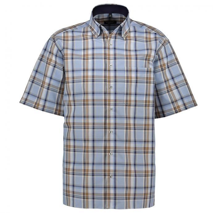Karriertes Freizeithemd mit Button-Down Kragen, kurzarm blau_18 | 46