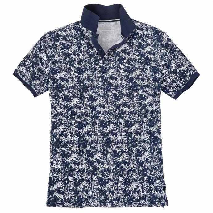 Lässiges Poloshirt mit floralem Allover-Druck dunkelblau_56A0 | 3XL