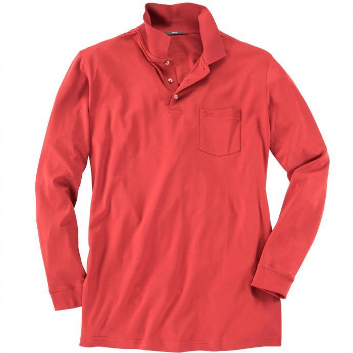 Langarmpoloshirt mit Brusttasche ziegelrot_44 | 4XL