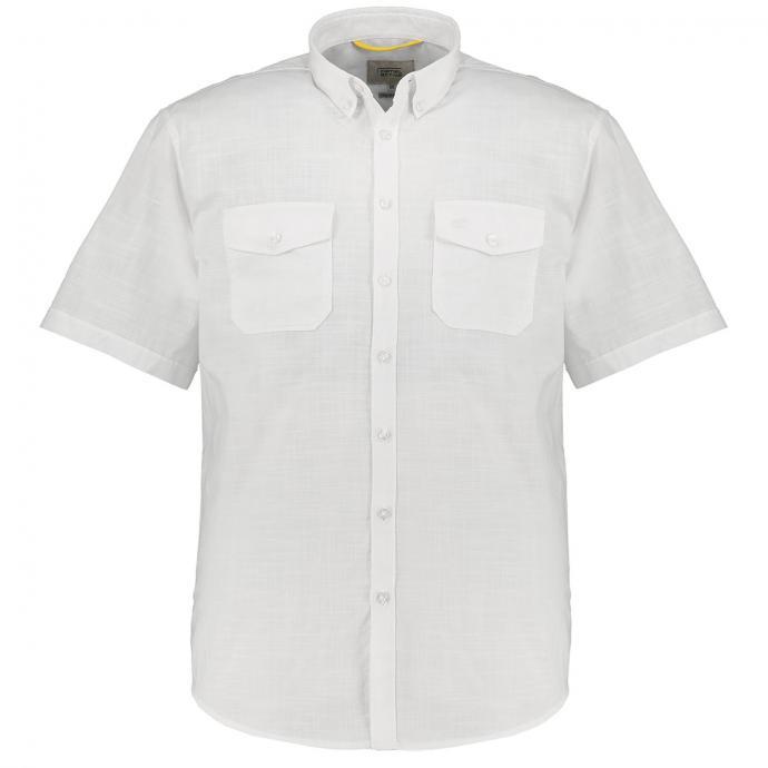 Sommerliches Kurzarmhemd in Leinenoptik weiß_01 | XXL