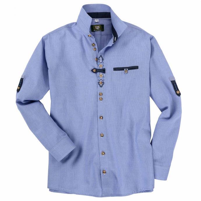 Trachtenhemd mit teilbestickter Knopfleiste und Brusttasche, langarm blau_42   3XL
