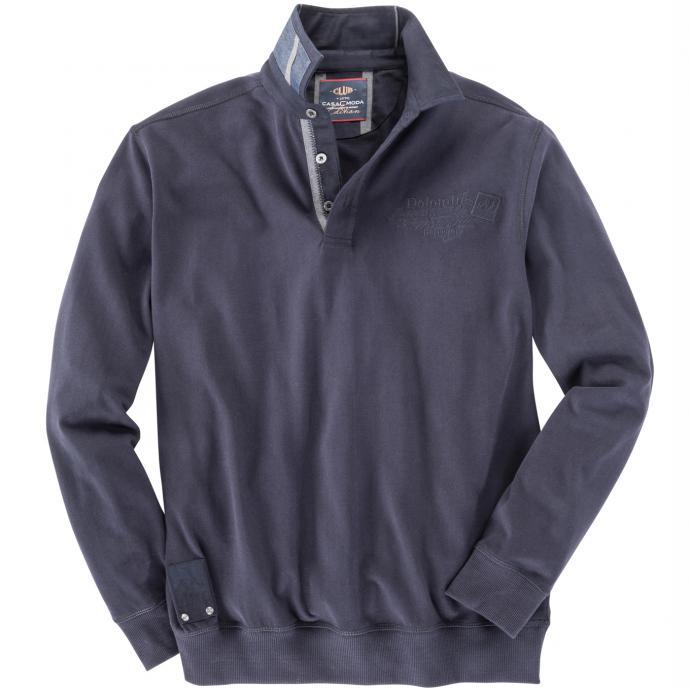 Leichtes Sweatshirt mit Hemdkragen marine_105   3XL