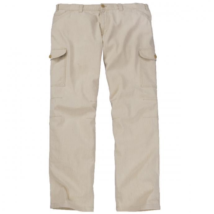 Leichte Hose mit Gummibund und Cargotaschen aus Leinengemisch sand_410   28