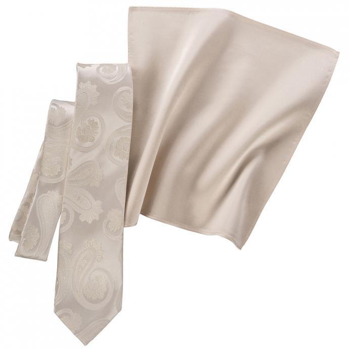 Krawatte mit Paisleymuster und Tuch sekt_FB4   One Size
