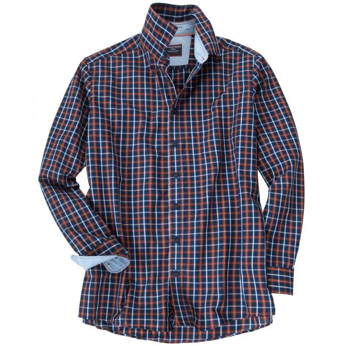 Kariertes Langarmhemd mit Brusttasche blau_100   XXL