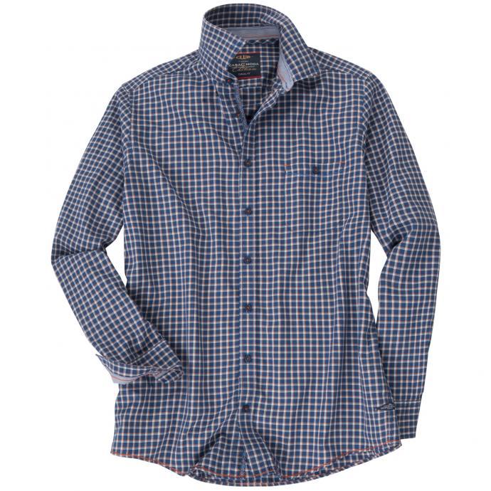 Kariertes Freizeithemd mit langem Arm blau_100 | 4XL