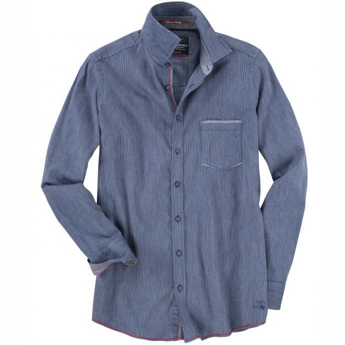 Freizeithemd dezent gestreift mit langem Arm blau_100   3XL