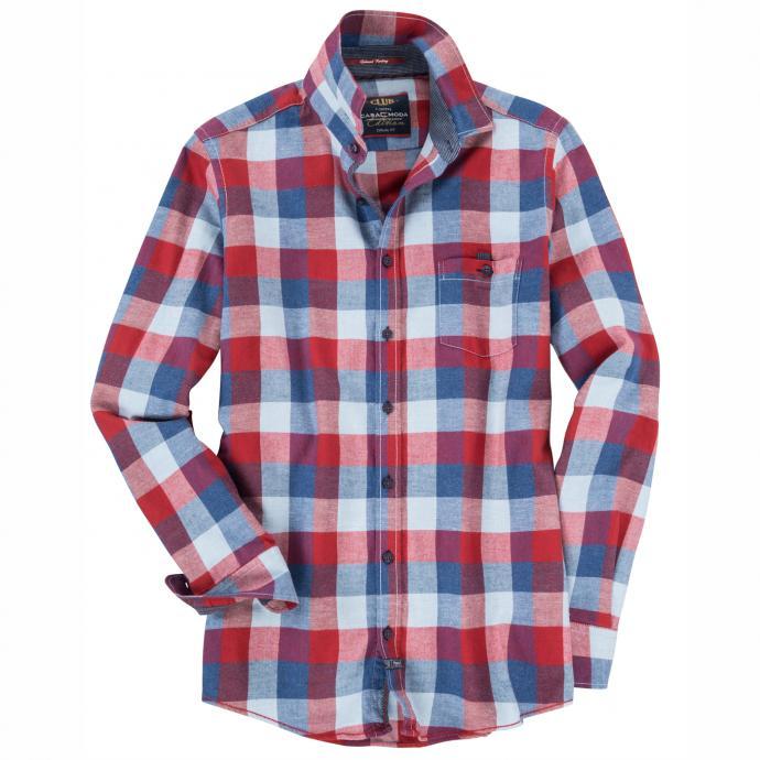 Freizeithemd mit Karomuster, langarm rot_400   3XL