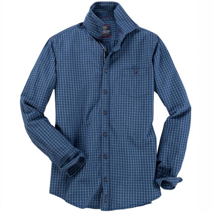 Langarm Freizeithemd mit Karomuster blau_100 | XXL
