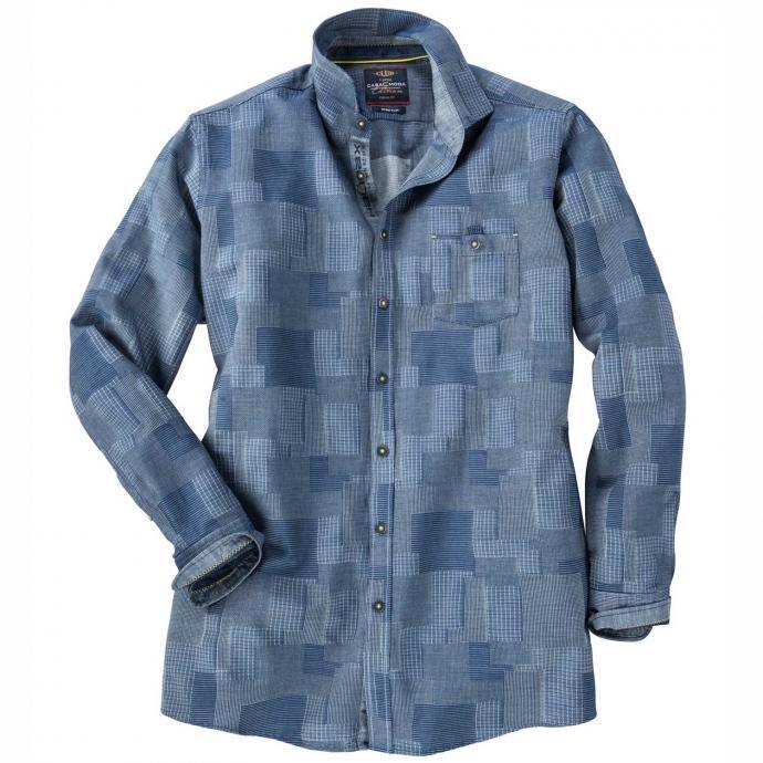 Modernes Freizeithemd mit Stretchanteil langarm blau_100 | XXL