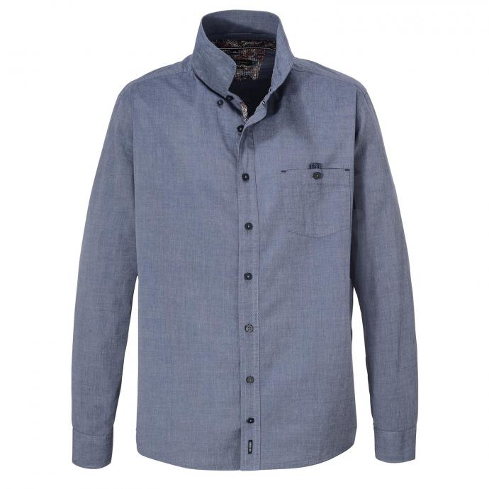 Freizeithemd mit auffälligem Kontrastausputz, langarm jeansblau_101   XXL