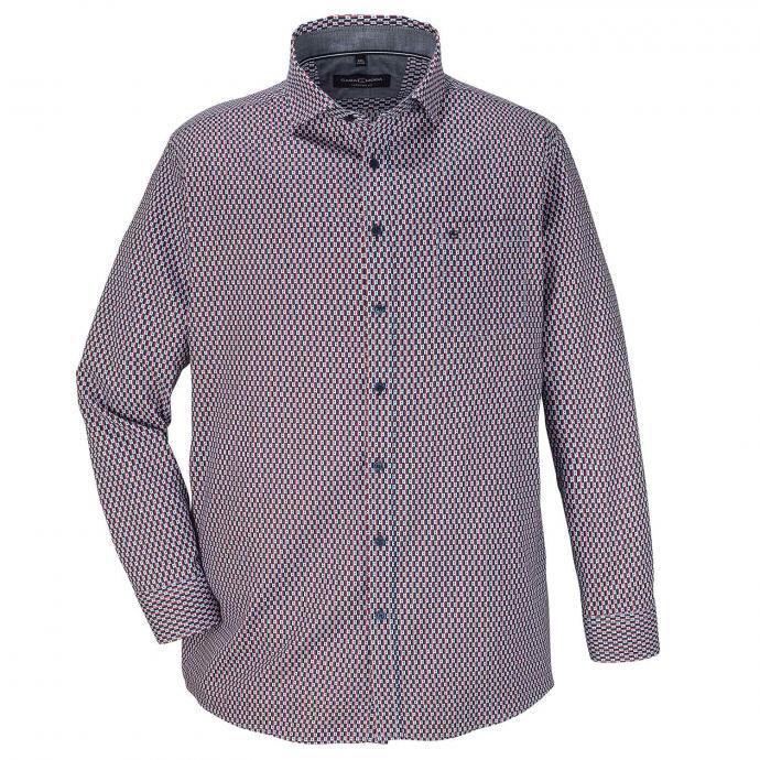 Baumwoll-Freizeithemd mit auffälligem Print, langarm rot/weiß_400/5020 | XXL