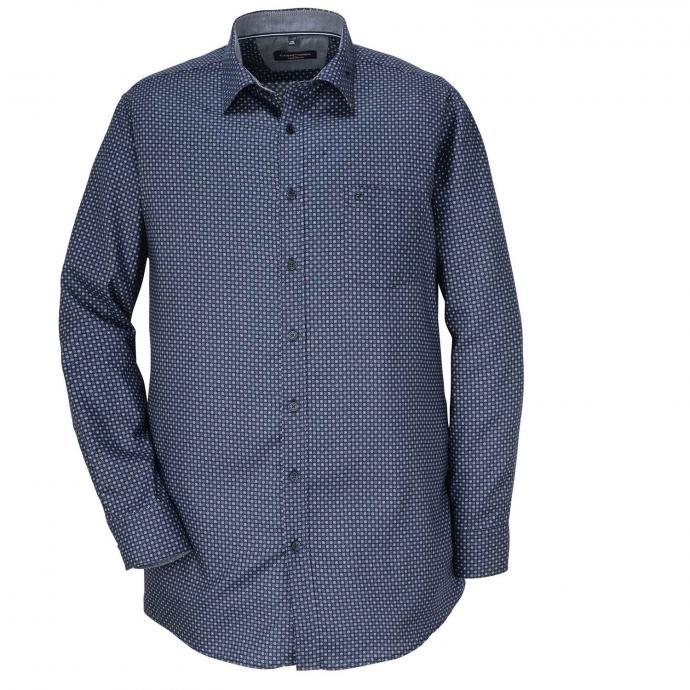 Gemustertes Freizeithemd langarm blau_100 | XXL