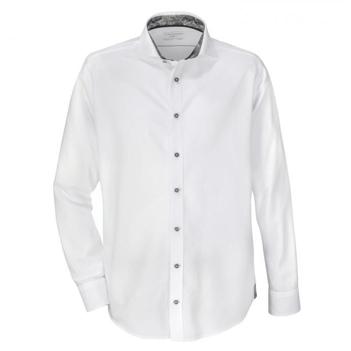 Baumwollhemd mit kontrastfarbener Knopfleiste, langarm weiß/weiß_000 | XXL