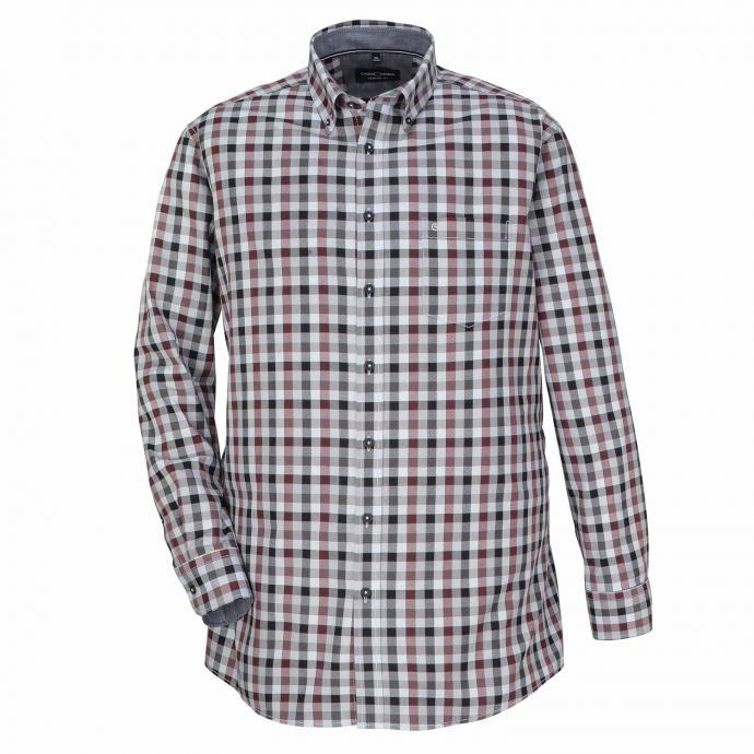 Baumwollhemd mit Blockkaros, langarm rot_400   XXL